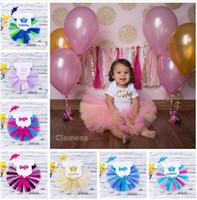 Wholesale Infant Black Tutu Skirt - 2018 Girls Baby Rompers Clothing Sets Toddler Romper tutu Skirts Headbands 3Pcs Set Cute Infant Onesies TuTu Skirts Boutique Clothes Outfits