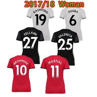 Wholesale Ladies White Uniform Shirt - New RASHFORD matic home red Women Soccer Jersey 17 18 #6 POGBA away Ibrahimovic Soccer Shirt LUKAKU MARTIAL ladies football uniform