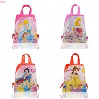 Wholesale Drawstring Backpack Princess - Durable 12Pcs Princess Kids Drawstring Backpack 34*27cm Handbags Kids School bags Shopping Bags kid Best Gift Free Shipping
