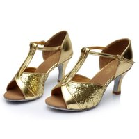 Wholesale Stiletto Heel Mary Jane - Wholesale-Mary Jane style peep toe sequin kitten heels female stilettos women's ballroom tango salsa Latin dance shoes tacchi