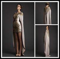 Wholesale Classic Ladies Photos - Custom Made 2015 Evening Dresses Hi-Lo Sexy Prom Dress Cape Crew Sheath Applique Sequins Krikor Jabotian Lady Party Prom Cocktail Gowns