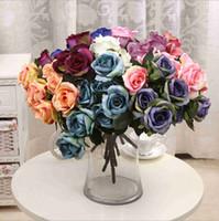 Wholesale Home Decor Silk Flower Arrangements - 7 Heads Rose Flowers Artificial Silk Rose Flowers Real Touch Rose Wedding Party Home Floral Decor Flower Arrangement Peony