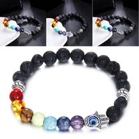 Hot Sale Men Women 8mm Lava Rock 7 Chakras Beads Bracelet Elastic Natural Stone Yoga Bracelet Bracelet Top Seller Preferred B361S