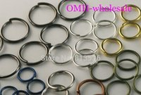Wholesale Silver Plating Jewelry Ring Findings - OMH wholesale DIY Jewelry Finding 200PCS 6 color Mix metal jumping 0.7x8mm rings Components Free shipping DY58