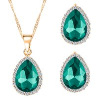 Wholesale Earring Crystal Swarovski Pendant - Bridesmaid Jewelry Set Women Crystal Earring&necklace Jewelry Set!Elegant Angel's Tear Crystal Pendant Necklace Swarovski Party Jewelry Set