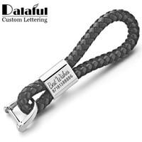 maßgeschneiderte schlüsselhalter großhandel-Beijia benutzerdefinierte Beschriftung Schlüsselanhänger Woven Leder abnehmbare Schlüsselanhänger anpassen personalisierte Geschenk für Auto Schlüsselanhänger Inhaber K350