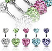 Wholesale Crystal Ball Belly Wholesale - Low discount boby jewelry Shamballa Crystal heart Disco Ball&316L Surgical Stainless Steel Belly Button Navel Ring Body Piercing P016