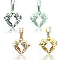 Wholesale Love Balls For Women - Fashion Pendant Necklace Baby Musical Chime Ball 4 Color Heart Cage Angel Necklace For Women Jewelry