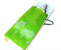 garrafa de água plana dobrável venda por atacado-A garrafa de água vem anti-garrafa dobrável dos litros 480ml da garrafa de água lisa, dobrável