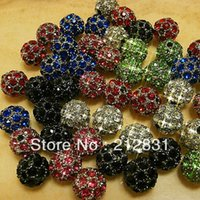 Wholesale Shamballa Supplies - High Quality Wholesale 10mm Mixed Colors Shamballa Beads Pave Disco Crystal Rhinestones Ball loose Bead Findings Jewelry Beading Supplies