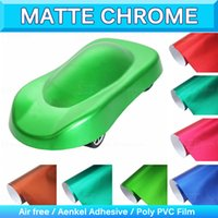 Wholesale Matte Chrome Vinyl Wrap - Matte Metallic Vinyl Wrap Satin Matte Wrapping Chrome Pearl Blue Car Stickers Matte Chrome Bubble Air Free 1.52x20M 5x65Ft