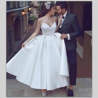 Wholesale Bridal Gowns Vintage Ankle Length - Cheap Simple Wedding Dresses Ankle Length Spaghetti Straps Satin And Lace Bridal Gowns A Line Custom made Beach Wedding Gowns Vestidos