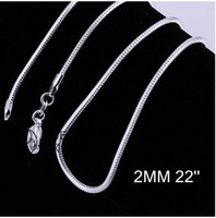 Wholesale Men 2mm Silver Chains - 2MM 16-24inches promotions Price Beautiful 925 sterling silver WOMEN MEN Cute chain necklace high quality fashion for pendant