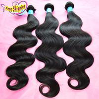 Wholesale Eurasian 5a - Peruvian Body Wave Wavy Virgin Human Hair Weaves Bundles Cheap 5A Cambodian Malaysian Indian Eurasian Brazilian Hair Extensions Double Wefts
