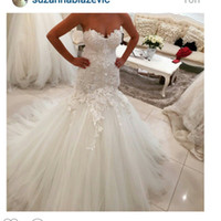 Wholesale sweetheart neckline trumpet wedding dress - 2016 Mermaid Lace Wedding Dresses Sweetheart Neckline Lace Appliques Tulle Backless Draped Lace Bridal Dresses Wedding Party Custom Made