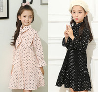 Wholesale Child Pink Bow Tie - Girls Chiffon Dresses 2018 New Children Polka Dots Pleated Dress Kids Bows Tie Long sleeve Dress Spring Big Girls Maxi Dress 4-15T A00136