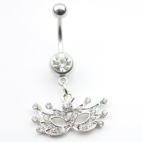 Wholesale Mask Piercing - 0002-1 the mask clear stone color navel Belly Button Rings Body Piercing Jewelry Dangle Accessories Fashion Charm (10PCS LOT) Drop shipping