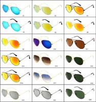 Wholesale Tempered Glass Goggles - Tempered glass sunglasses pilot classic sunglasses Designer Eyewear Flash Glass Lens For Mens Womens Mirror Sunglasses