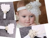 Wholesale Wholesale Curled Feather Headbands - 10pc baby White curled feathers soft elastic Headband Pearl Rhinestone for Girl Hair Accessories Newborn Baptism Hairband Photo Prop YM6112