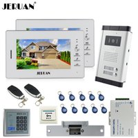 JERUAN 7`` Telefone de porta de vídeo LCD 2 branco Monitor 1 HD Camera Apartment 1V2 Doorbell + RFID Access Control + FREE SHIPPING