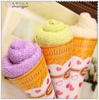 Wholesale Towel Favors Weddings - 2015 New Christmas gifts ice cream cake towel 20*20cm Mini Square Cake Towel 100% cotton Towel Wedding Birthday party Favors gifts