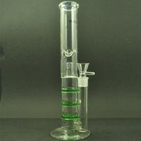 satır içi çift petek toptan satış-Yeşil Cam Su Bong Çift Recycler Rig Üçlü Petek Perc Bong TOPOO Logo Inline Matrix Perc Cam Bong Percolator 18.8mm Kase