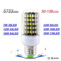 Wholesale 42led Smd - 7W 30led 12W 42led 18W 64led 22W 80led 25W 108led 35W 136led Led Bulb E27 E14 GU10 G9 Led Lights Ultra Bright SMD 5733 Led Corn Bulb Light