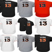 Wholesale Miami Embroidery - Factory Outlet Mens Womens Kids Toddlers Miami 13 Marcell Ozuna Best Quality Cheap Black Grey Orange White Embroidery Logos Baseball Jerseys