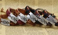 fisch armband china großhandel-überlegene Fisch Jesus Handmade Truth geflochtene Lederarmband Designs Herren Armbänder Schmuck für Frauen
