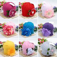 heißes nettes schönes mädchen großhandel-Heiße nette Babymütze-Hüte für Mädchen Schöne reizend Blumen-weiche Baumwollbaby-Hut-Mädchen-Frühlings-Herbst-Hut-Kinderkappe