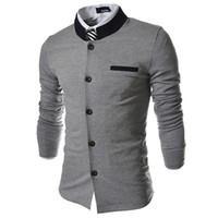 Wholesale Stylish Men Coat New Arrival - Wholesale-2015 New Arrival Hot Tide Patchwork Match Collar Stand Korean Stylish Men's Coats Suit Jackets Designer Suit Dress Black Gray