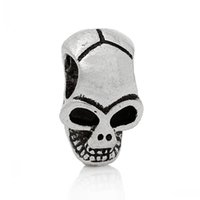 10 Mix Antiksilber Totenkopf Totenschädel Halloween Geist Anhänger Perlen Beads