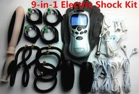 Wholesale Electric Bdsm - 9-in-1 BDSM Electric Shock Therapy Kit Bondage Gear Nipple Clips Penis Anal Vaginal Plug Gloves Cock Penis Ring Cupping Sex Toys