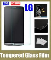 Wholesale Lg Spirit Glass - premium real glass screen protectors film protection 0.26mm for LG spirit g3 mini g4 G2  D802 G Pro L70 d320 ms323 SSC029