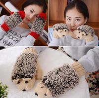 Wholesale Knitted Winter Mittens - New 8 Colors Girls Novelty Cartoon Winter Gloves for Women Knit Warm Fitness Gloves Hedgehog Heated Villus Wrist Mittens