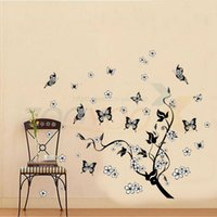Wholesale Tree Vines Flowers Wall Decals - flying butterfly around the black tree Vine floral wall decal home Decoration Butterfly Flowers Tree Wall Stickers ZYPA-7005