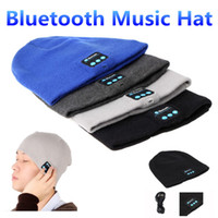 Wholesale Blue Church Hats - Bluetooth Music Hat Soft Warm Beanie Cap with Stereo Headphone Headset Speaker Wireless Microphone for man support for iphone ipad MP3 ipod