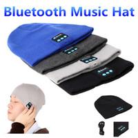 bluetooth mikrofon ipad großhandel-Bluetooth-Musik-Hut-weiche warme Beanie-Kappe mit Stereokopfhörer-Kopfhörer-Sprecher Drahtloses Mikrofon für Mannunterstützung für iphone ipad MP3 ipod