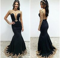 Wholesale Sequins Mesh Dress - 2017 Girls Pageant Dresses Sexy Mermaid Black and Gold Evening Dresses Long Sleeves Scoop Mesh Back Beaded Lace Appliques Dresses Prom Cheap