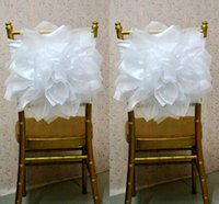 Chair Cover Organza Yes 2015 Chair Sash for Weddings with Big Organza 3D Flowers Wedding Decorations Chair Covers Chair Sashes Wedding Accessories 05