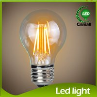 Discount led cree lamp bulb 6w - 2015 Filament Led Bulbs A19 Edison Glass Lamp 2W 4W 6W 8W A60 E27 Dimmable LED Vintage Filament Globe Bulb COB LED Bulb