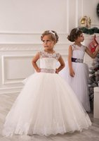 Wholesale Vintage Flower Girl Dress Winter - 2015 winter Flower Girls' Dresses for wedding Vintage ball gown Sash Lace Net Baby Children Girl Birthday Party Christmas Princess gowns