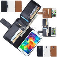 Wholesale S4 Cover New - Wholesale-New Business Wallet Stand Design PU Leather Case Cover For Samsung Galaxy S5 S4 S3 NOTE 4 NOTE 3 With 6 Card Holders Flip Cover