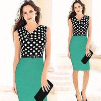 Wear to Work Bodycon Dresses Summer 2015 Sexy Pencil Polka Dots Knee Length Work Dresses Women's Fashion Clothing Street Style Work Dresses with Belt OXL13193