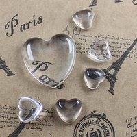 Wholesale Cabochon Transparent - (50 pcs lot) 10 12 25mm glass cabochon transparent clear heart shape cameo cover cabs glass spacers glass gem beads diy jewelry cy978