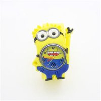 Wholesale Despicable 3d Movie - 3D Eye Despicable Me slap watch movie minion Precious Children Watches Slap Snap On Silicone Quartz Wrist Watch