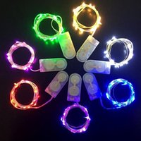 ingrosso rame di luce della stringa della batteria-LED Strip 2M 20LED Button Cell Battery Powered Fairy Light String Rame Outdoor Holiday Xmas Wedding Party Decorazione di Halloween