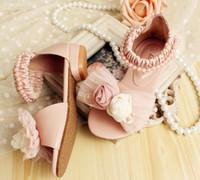 Wholesale Kids Dress Shoes Beige - Girls Shoes Kids Beaded Pearl Dress Shoes 2015 Summer Girl Lovely Rose Flower Bowknot Open Toe Princess Shoe 24-34 Yard Beige Pink I3391