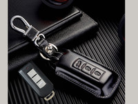 Wholesale Smart Key Covers - genuine leather Key fob Cover For Mitsubishi Lancer EX Outlander ASX Mirage Montero smart remote key case keychain rings Accessories