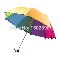 Wholesale-Prinzessin Lady Flouncing Dome Sonnenschirmsun / Regen Folding Umbrella Lotus Blätter Welle